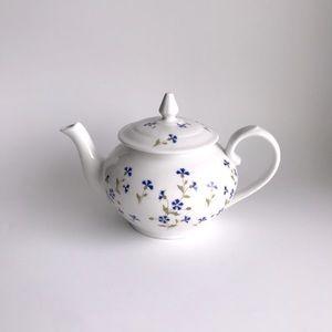 Vintage Apilco White Porcelain Teapot Blue Flowers
